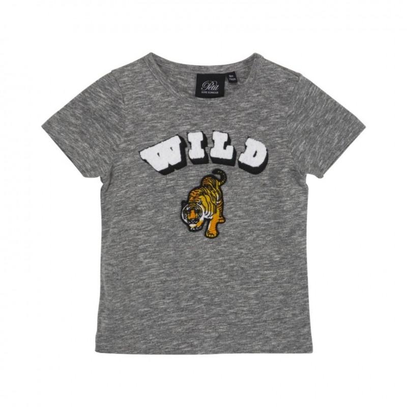 PETIT BY SOFIE SCHNOOR T-shirt med WILD tiger broderi grey melange-31
