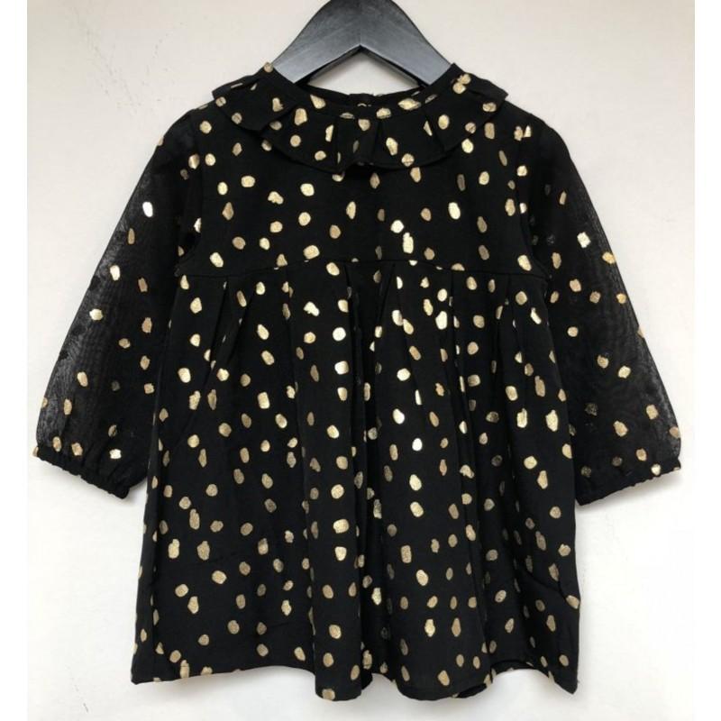 PETIT BY SOFIE SCHNOOR Smuk kjole med krave og rynkedetalje sort med guld-31