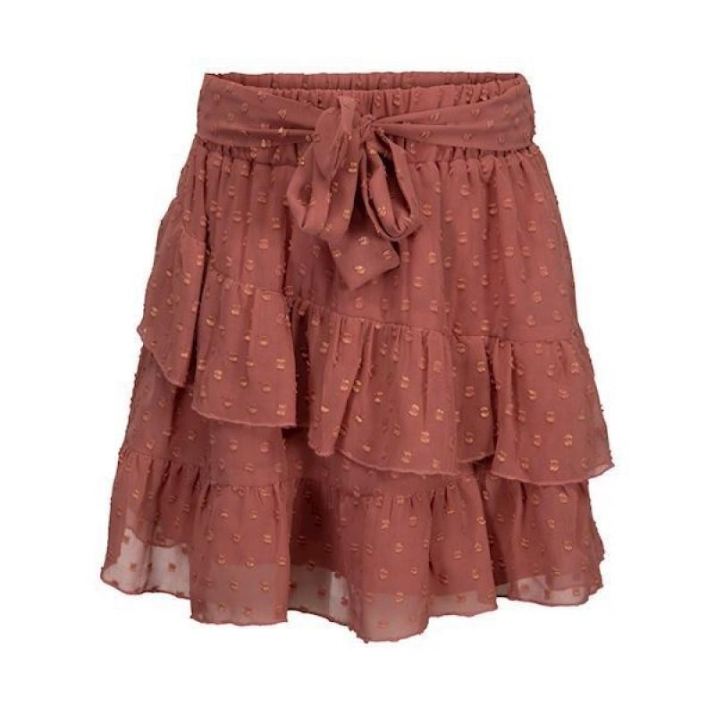 PETIT BY SOFIE SCHNOOR Smukt skirt med flæser og bindebånd rosa-314