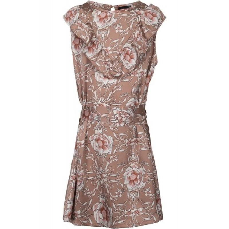 PETIT BY SOFIE SCHNOOR Blomstret kjole med flæse og bindebånd karamel-314