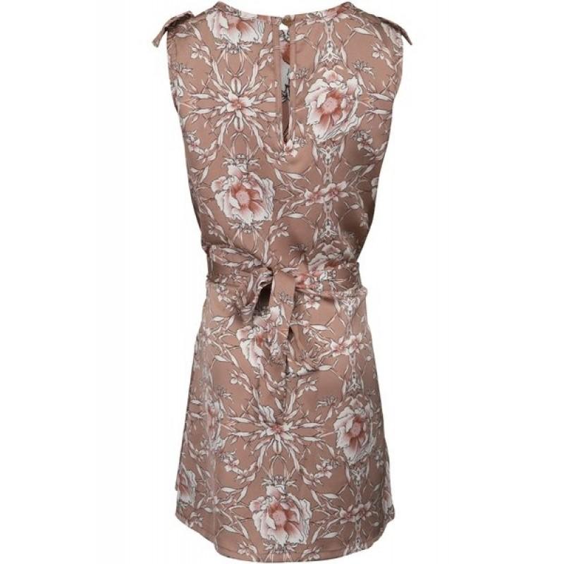 PETIT BY SOFIE SCHNOOR Blomstret kjole med flæse og bindebånd karamel-014