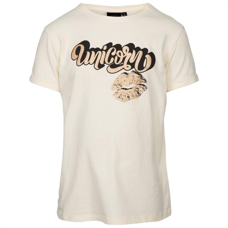 PETIT BY SOFIE SCHNOOR UNICORN T-shirt lysegul med guld og sort print-311