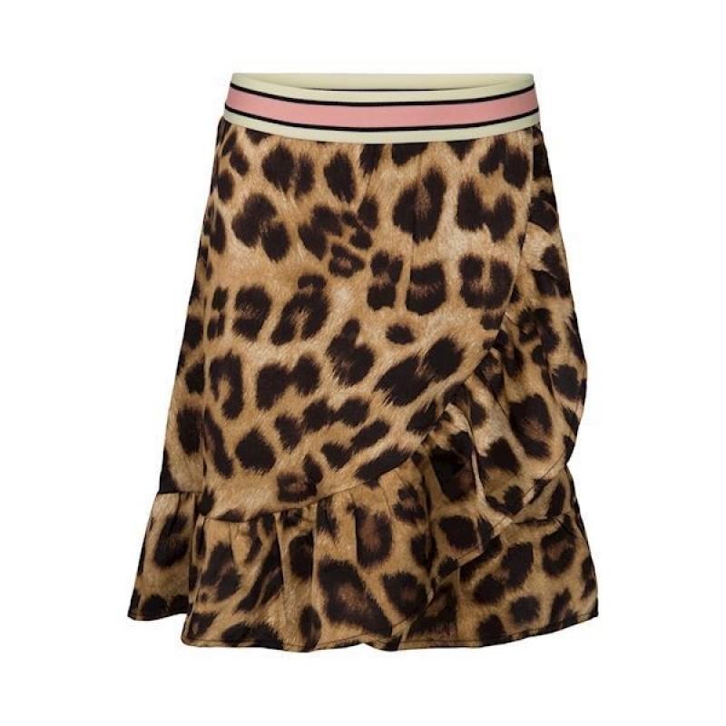 PETIT BY SOFIE SCHNOOR Skirt i leopard print med flæser og stribet elastik-312