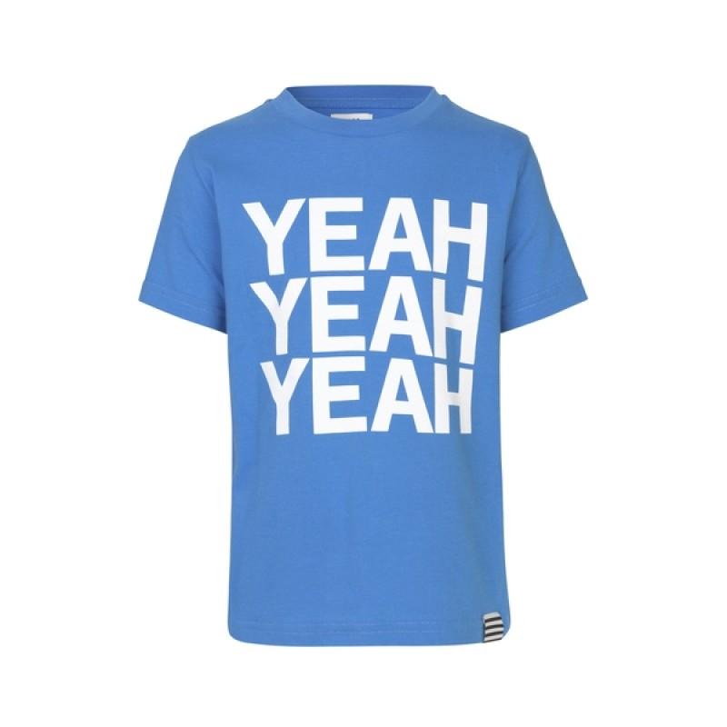 MADS NØRGAARD Smart T-shirt med hvidt YEAH-print lyseblå-32