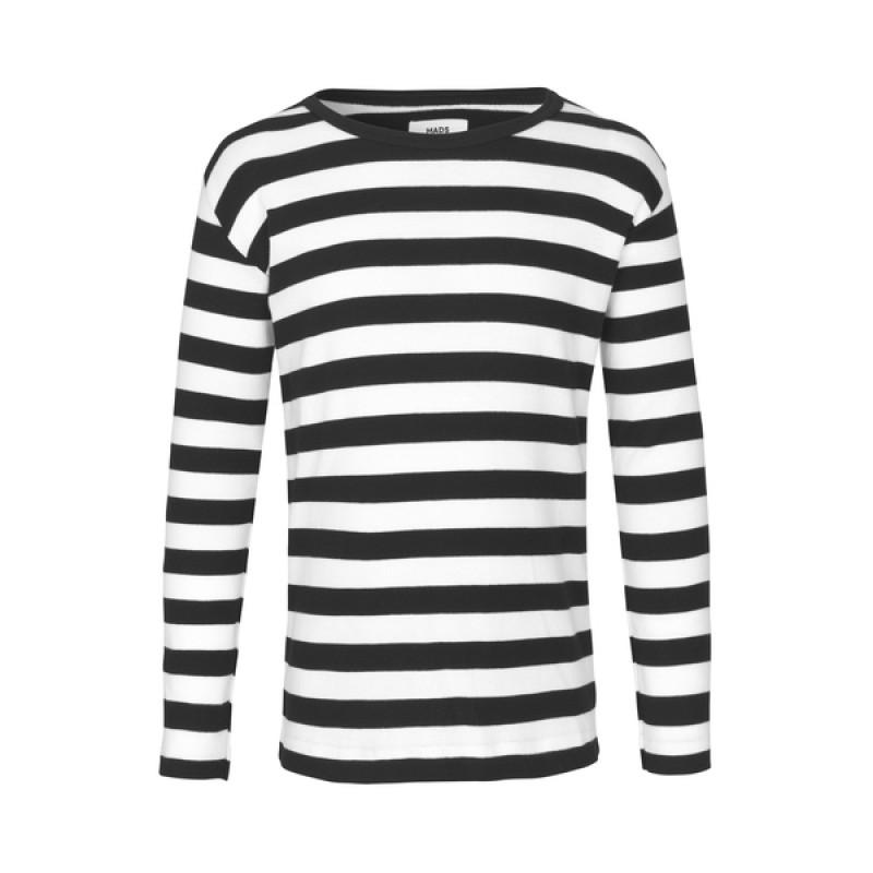 MADS NØRGAARD Tobino lang ærmet T-shirt Black/White-32