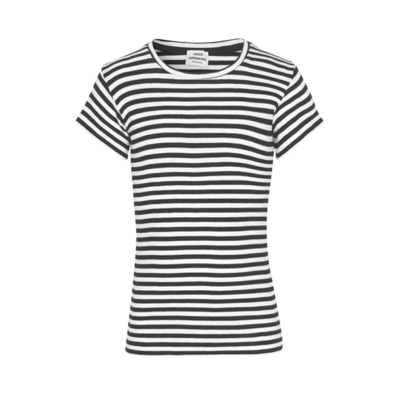 MADS NØRGAARD Stribet rib T-shirt sort/hvid-32