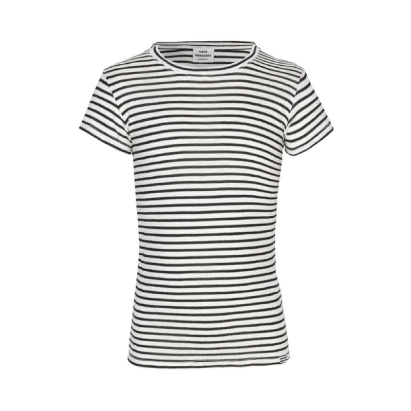 MADS NØRGAARD Råhvid T-shirt med sorte og sølv striber-33