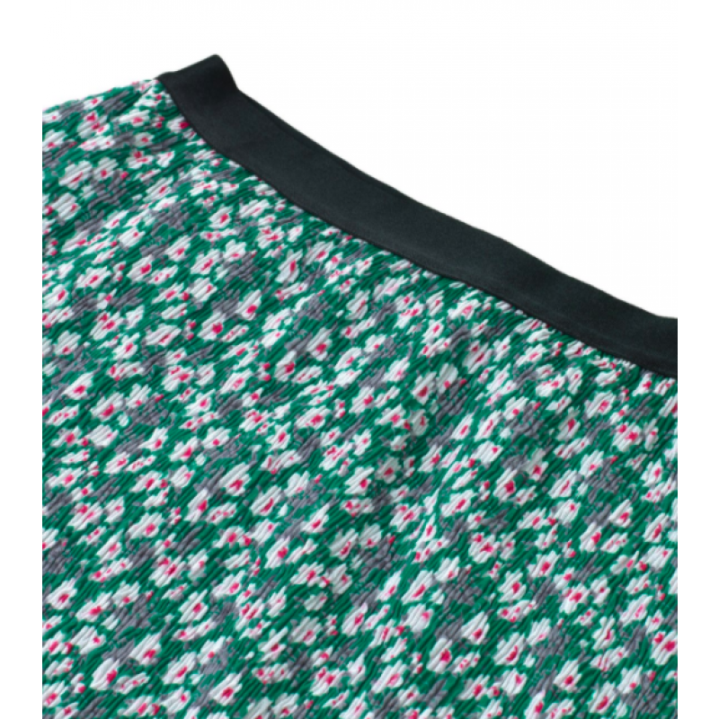 Flower crepe skirt grøn med blomsterprint-01