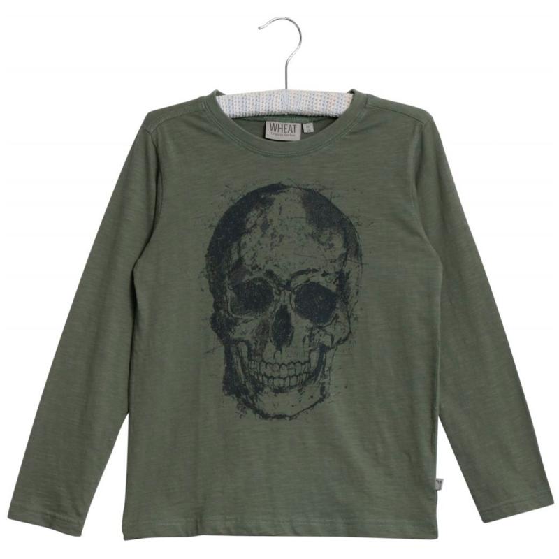 Langærmet bluse med sort skull grøn-33