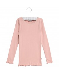 WHEAT - Rib T-shirt lace LS - Misty rose