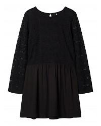 NAME IT Langærmet kjole med blonde Sort-20