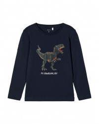 NAME IT Langærmet T-shirt Dino Navy-20