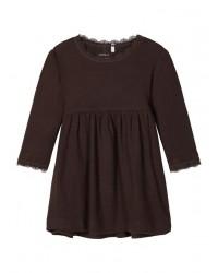 NAME IT Langærmet kjole i rib Brun-20
