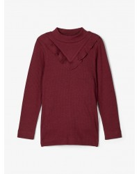 NAME IT Langærmet T-shirt i rib Bordeaux-20