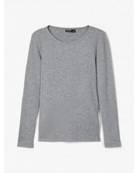 NAME IT Langærmet T-shirt i rib gråmelange-20