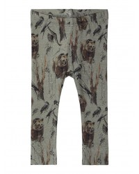 NAME IT Leggings Bjærneprint Agave Green-20