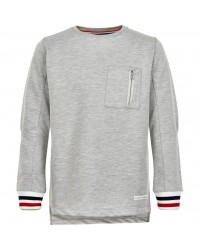 THE NEW Langærmet bluse med brystlomme og flotte ærmekanter grå-20