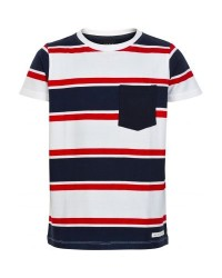 THE NEW Stribet t-shirt med pyntelomme LARRY rød-navy-hvid-20