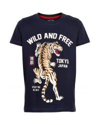 THE NEW SEJ T-SHIRT MED WILD AND FREE TIGER LOCO NAVY-20