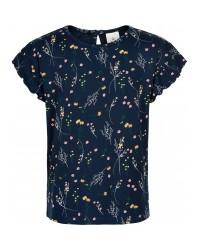 THE NEW Blød T-shirt med print af markblomster navy-20