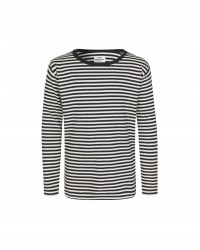 MADS NØRGAARD Tobino langærmet T-shirt Navy/Ecru/Navy-20