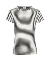 MADS NØRGAARD - Råhvid T-shirt med sorte og sølv striber