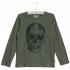 Langærmet bluse med sort skull grøn-03
